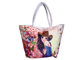 Beautiful Girl with Flowers and Butterfly Printed Beach Bag Tote bag TB090834