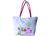 Plants, Flowers and Butterfly Printed Beach Tote Bag TB090836