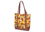 Brown and Yellow Chains Printed  Beach bag TB122157