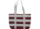 White and red stripes tote bag BC111202