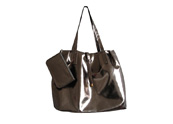 Large roomy varnished PU leather handbag TB111209